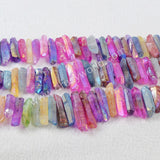 1 Strand of Rainbow Color Cluster Aura Druzy Quartz Crystal Point Pendant Loose Beads G0905