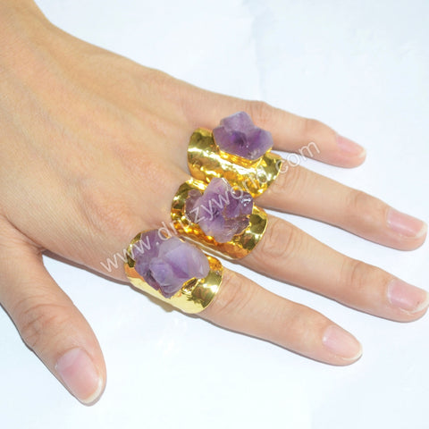 Gold/Brass/Silver/Black/Rose Gold Plated Rough Natural Amethyst Ring G1399