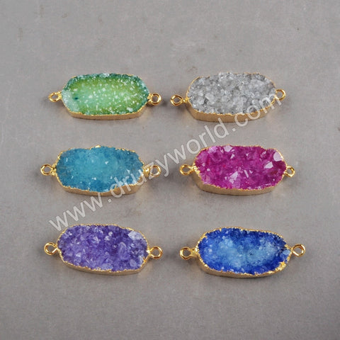 28x14mm Figuration Rainbow Agate Druzy Geode Connector Double Bail Gold Plated G0253