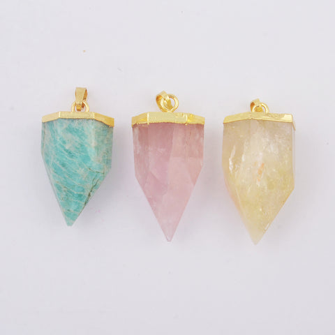 Spike Natural Amazonite Rose Quartz Point Citrine Pendant Gold WX1797