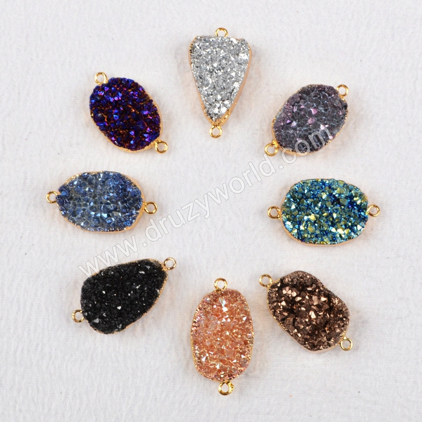 Gold Plated Oval Natural Agate Titanium Druzy Connector G0405