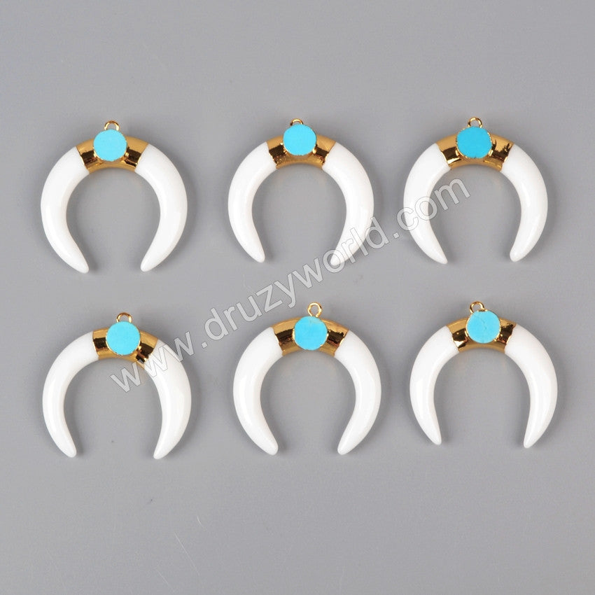 Gold Plated White Agate Crescent Double Horn Charm With 8mm Turquoise G0937