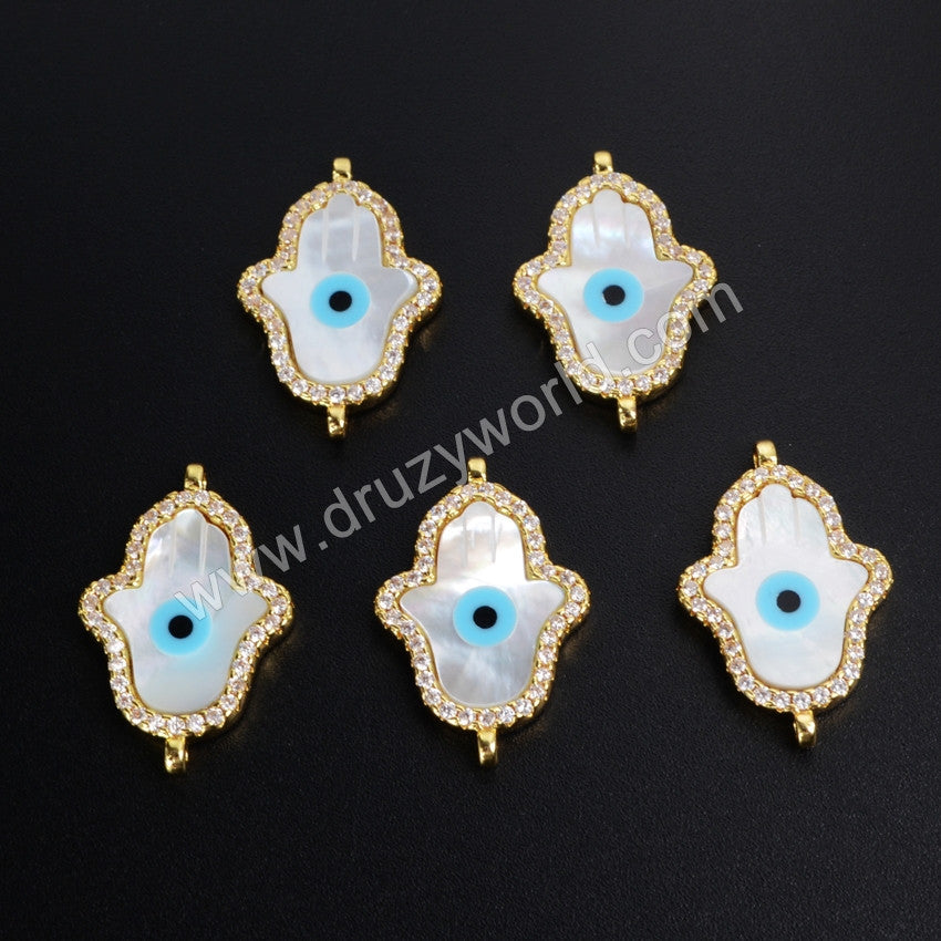 Gold Edge White Shell Hamsa Hand Zirconia Evil Eye Connector WX025