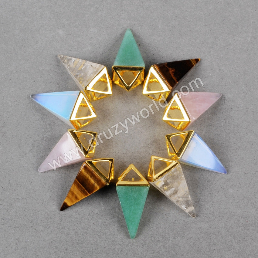 Hollow Gold Plated Pyramid Multi-Kind Stones Faceted Pendant Bead G0659