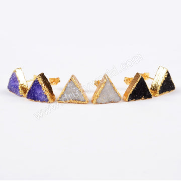 Triangle Agate Druzy Geode Stud Earrings