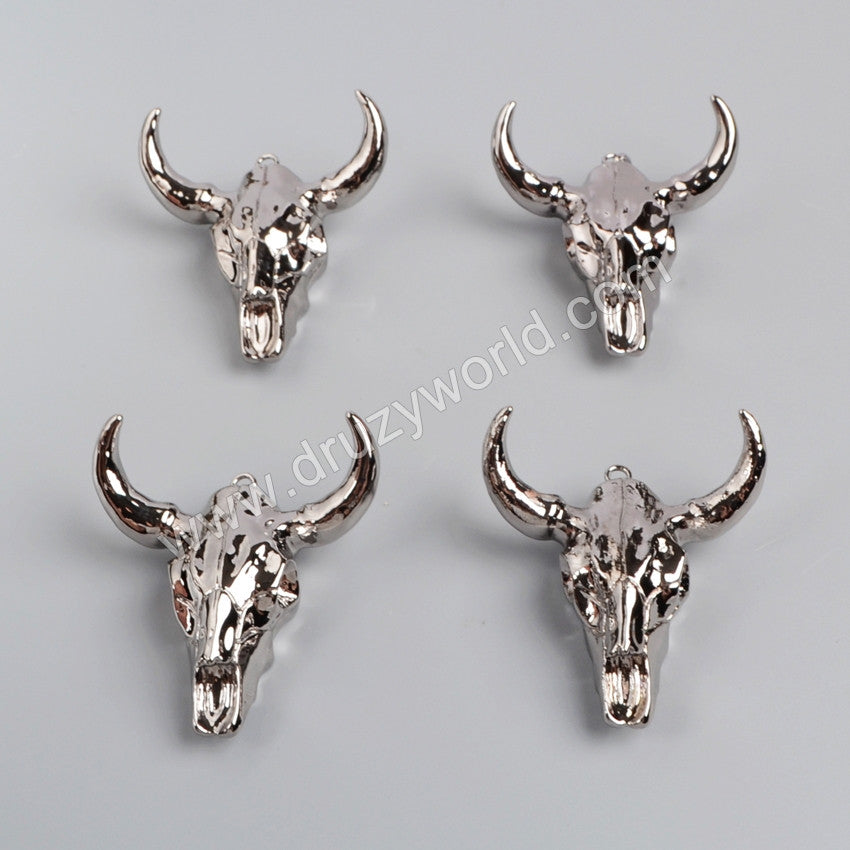 Longhorn resin horn cattle pendants, bull cattle pendants with full black gun plated G0843