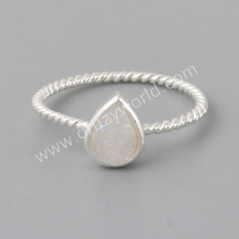 Silver Plated Teardrop Natural  Druzy Bezel Ring ZS0288