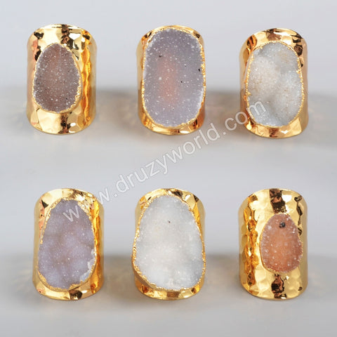 Gold Plated Freeform Natural Agate Druzy Ring G0935