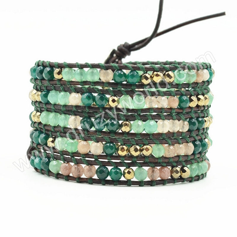 Hand Made Gypspy Bohemian Leather Gemstone Beaded Wrap Bracelet HD0098