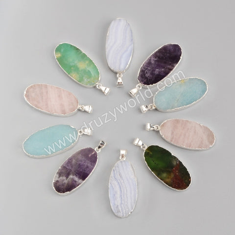925 Sterling Silver Oval Multi-Kind Stone Pendant Bead SS060