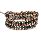 Hand Made Gypspy Bohemian Leather Gemstone Beaded Wrap Bracelet HD0106
