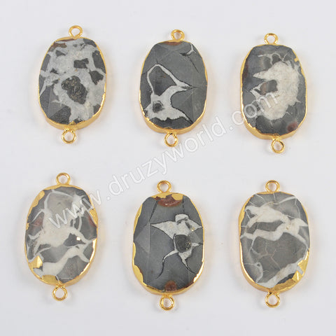 Gold Plated Septarian Gronatites Faceted Connector G2001