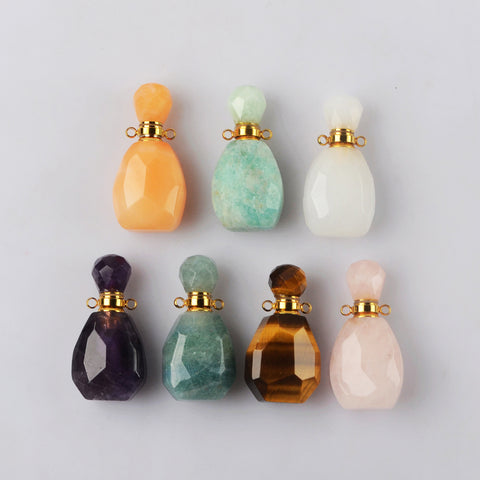 Gold Multi-kind Stone Faceted Perfume Bottle Connector WX1833