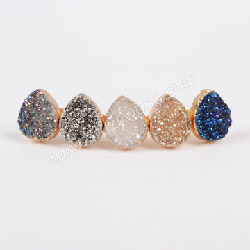 Gold Plated Teardrop Natural Agate Titanium Color Druzy Stud Earrings G0912