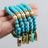 Gold Plated Natural Turquoise Pendant & 6mm Blue White Howlite Turquoise Beads Bracelet G0335