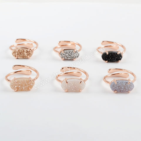 Rose Gold Prong Set Druzy Agate Ring ZG0320