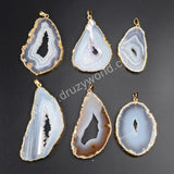 Gold Plated Natural Onyx Agate Druzy Geode Slice Pendant Bead G1063