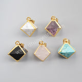 Gold Plated Pyramid Point Multi-Kind Stones Faceted Pendant Bead G1004