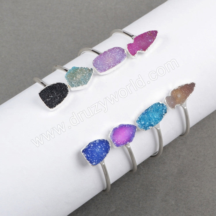Silver Plated Double Rainbow Natural Agate Druzy Geode Adjustable Bangle Arrow Oval Shield Shape