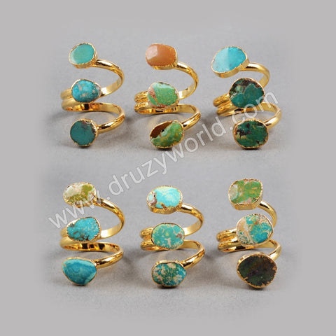 Adjustable Gold Plated Three 100% Natural Turquoise Ring