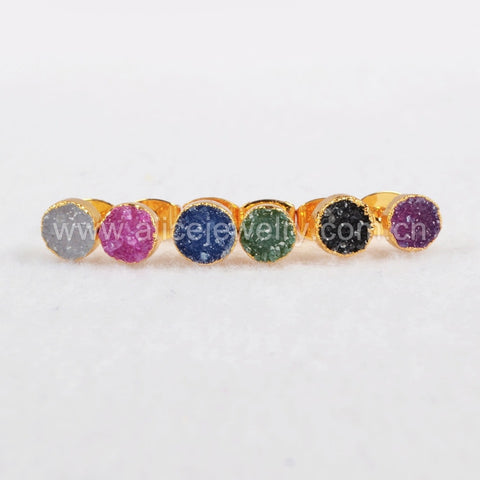 6mm Round Gold Plated Rainbow Agate Druzy Geode Stud Earrings