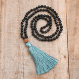 Volcano Stone Rope Tassels Mala Bead Necklace HD0314