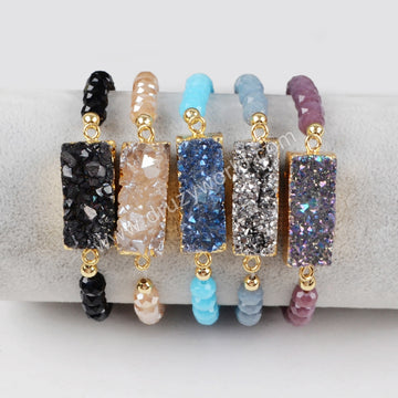 Rectangle Gold Plated Natural Agate Titanium Rainbow Druzy With Rainbow Faceted Beads Bracelet G1281