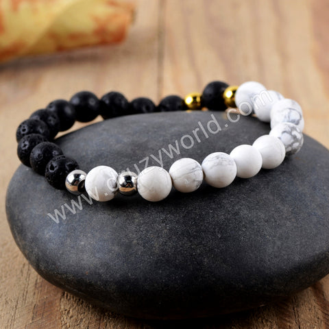 Pelelith Howlite Turquoise Beads Bracelet Statement Bracelet HD0223