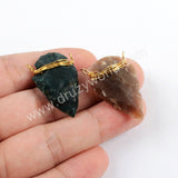 Gold Wire Wrapped Natural Jasper Arrowhead Connector Jewelry Findings G1645