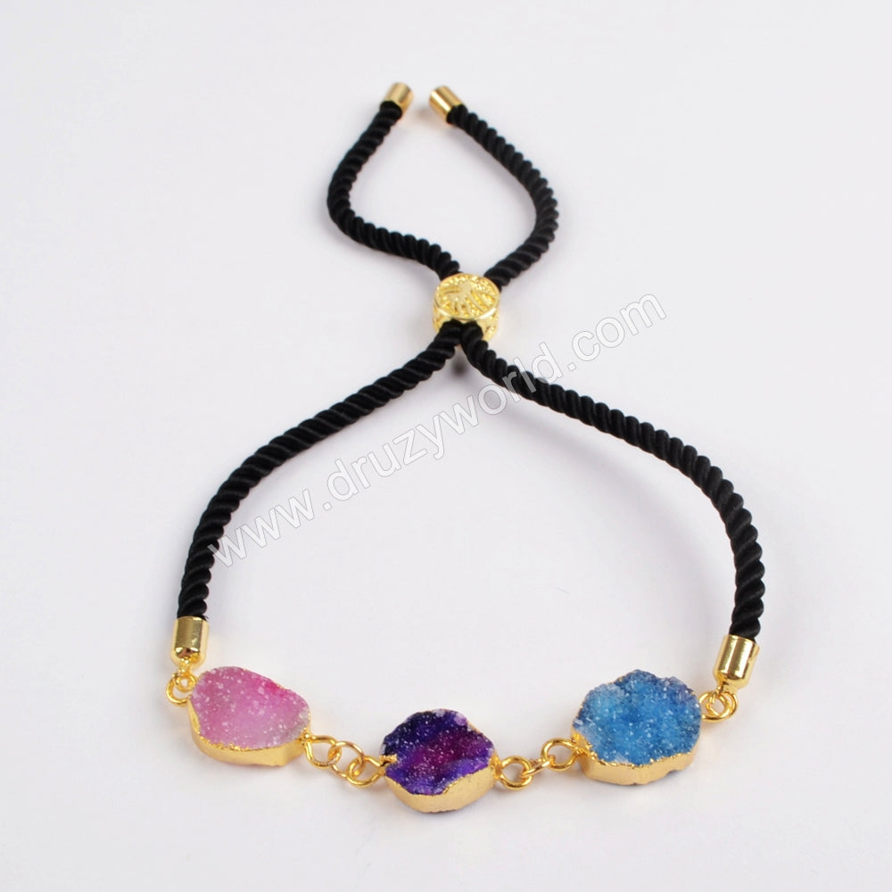 Gold Plated Multi Druzy Adjustable Black Cord Bracelet G1440