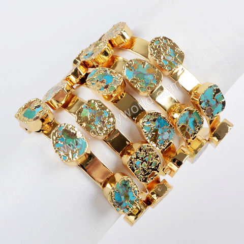 Copper Turquoise Five-Stone Bangle Gold Plated G1512