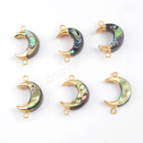 Crescent Gold Plated Abalone Shell Connector G1715