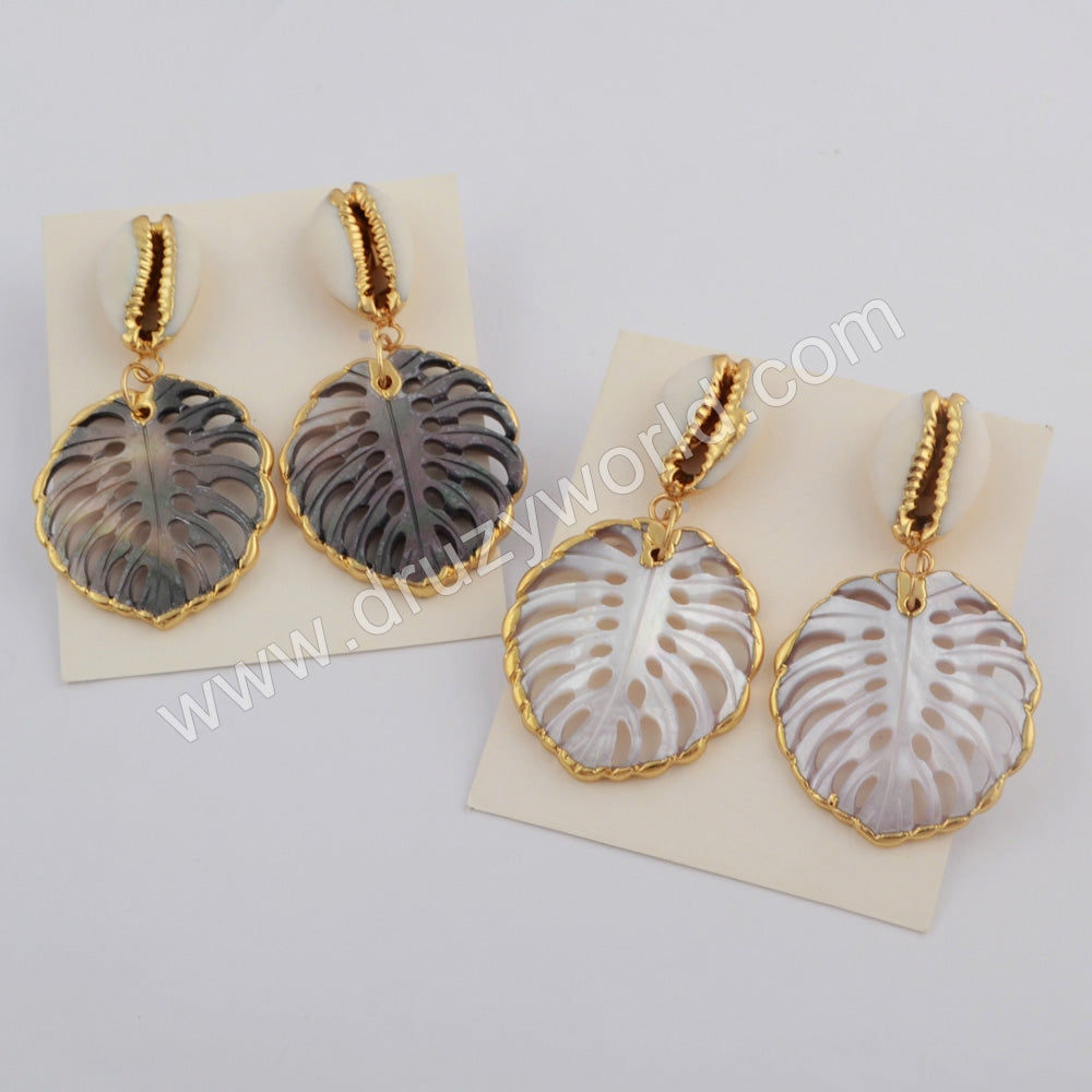 Leaf Gold Plated Rainbow Shell With Cowrie Shell Earrings G1775