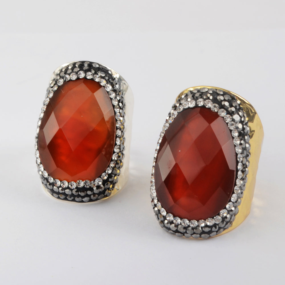 9.0 Large Size Stainless Steel Gold Carnelian Ring