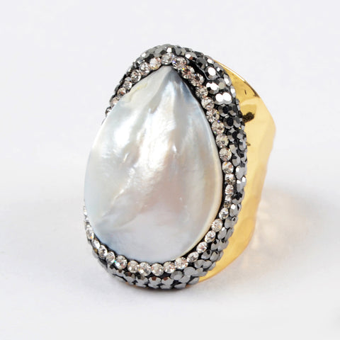 9.0 Large Size Stainless Steel Gold Mother Of Pearl Ring