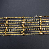 "20"" Gold Plated Finished Chain With 4mm Gold Spacer Beads PJ035"
