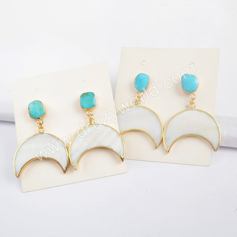 Gold Plated Blue Turquoise With Crescent White Shell Earrings G1730