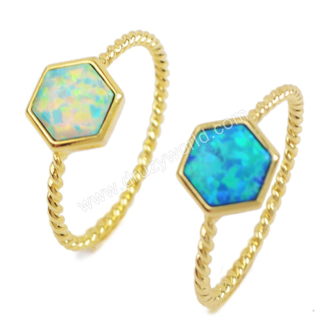 Gold Bezel Oxagon White Opal Ring ZG0243