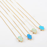 Gold Plated Hand White Opal Necklace G1494