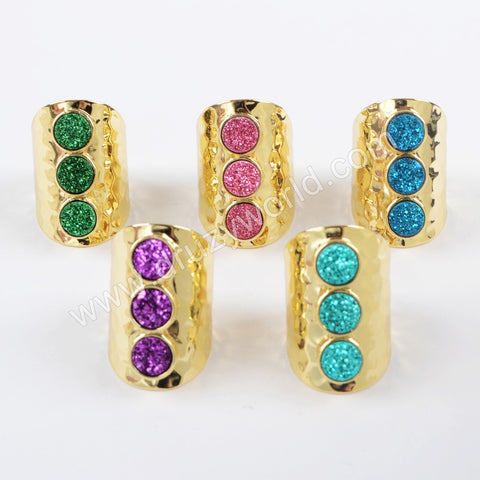 Gold Plated Bezel Three Round Titanium Dark Rainbow Druzy Band Ring ZG0366