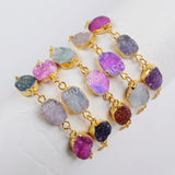 Gold Plated Multi Druzy Adjustable Gold Chain Bracelet G1441