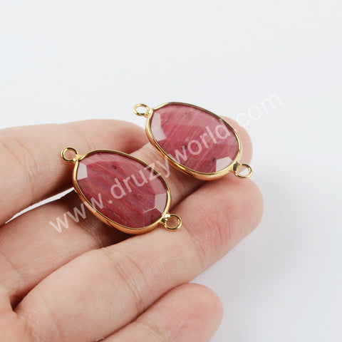 Red Wood Grain Connector Fashion Jewelry Making Gold Plated G1957