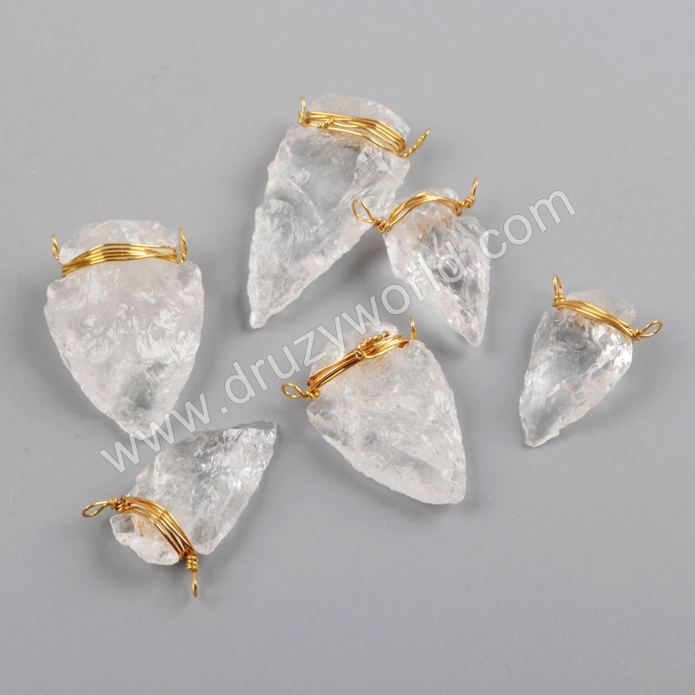 Gold Wire Wrapped White Quartz Arrowhead Connector G1646