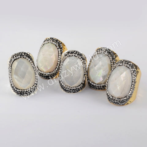 Gold/Silver  Plated Natural White Shell Rhinestone Ring JAB976