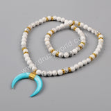 Gold Plated Wire Wrap Blue Shell Horn Necklace With White Howlite Turquoise Beads G1160
