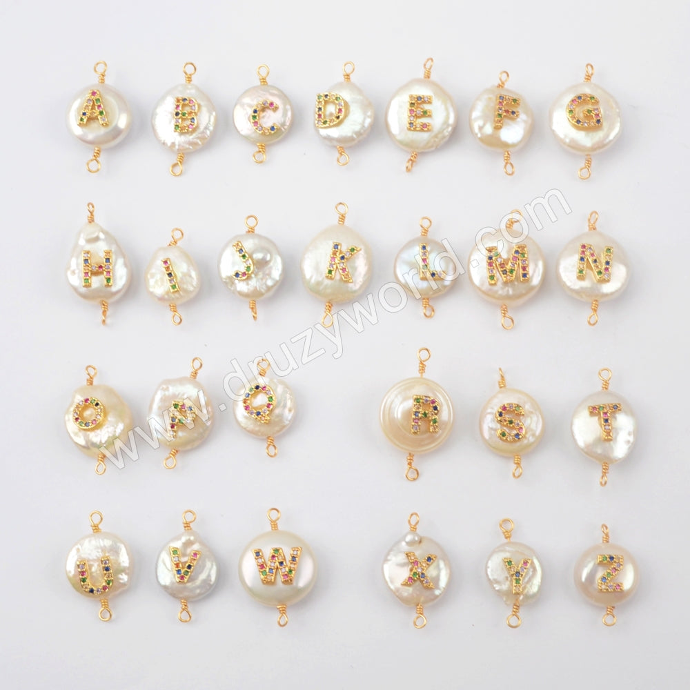 Gold plated Natural Pearl With Multi CZ Connector WX1265