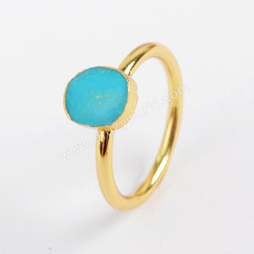 Gold Plated Freeform Natural Turquoise Ring G1513-3