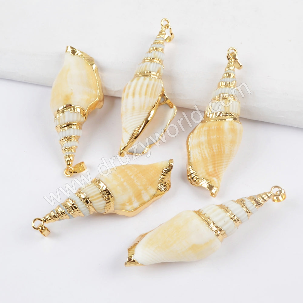 18K Gold Plated Natural Conch Shell Pendant For Seashell Summer Holiday Jewelry G1657