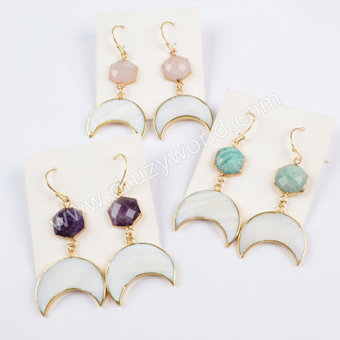 Gold Plated Hexagon Amethyst/Rose Quartz/Amazonite Faceted With Crescent White Shell Earrings G1731