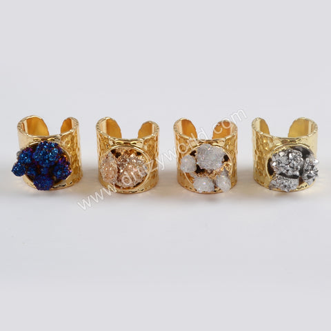 Gold Plated Rough Titanium Druzy Crystal Chips Ring G1435